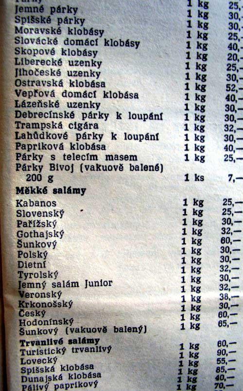 Ceny údenín a salám z roku 1989.